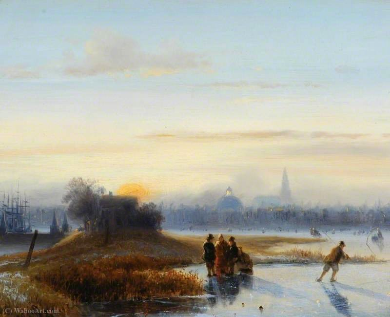 River Scene with Skaters by Alexis De Leeuw (1848-1883, Belgium)
