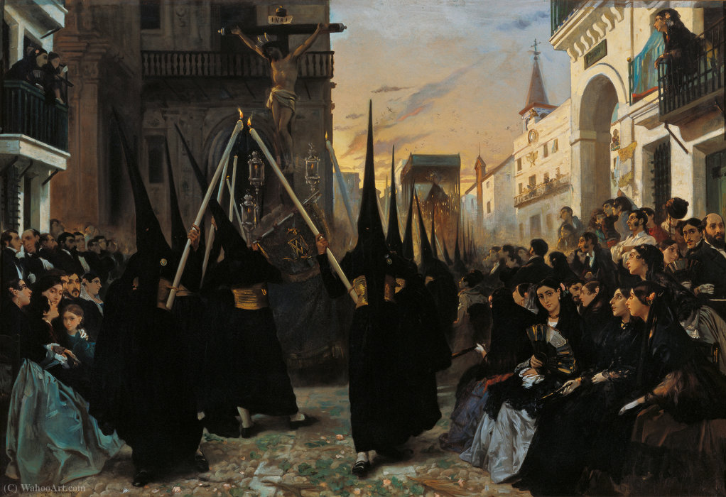 A Confraternity in Procession along Calle Génova by Alfred Dehodencq (1822-1882, France)