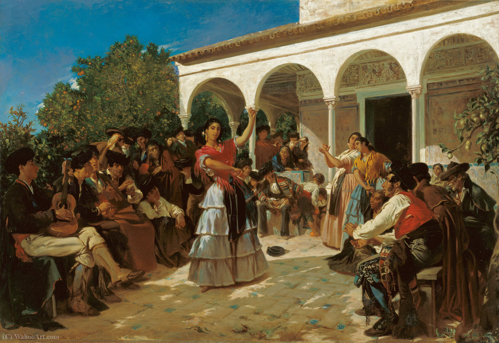 A Gypsy Dance in the Gardens of the Alcázar, in front of Charles V Pavilion. by Alfred Dehodencq (1822-1882, France)
