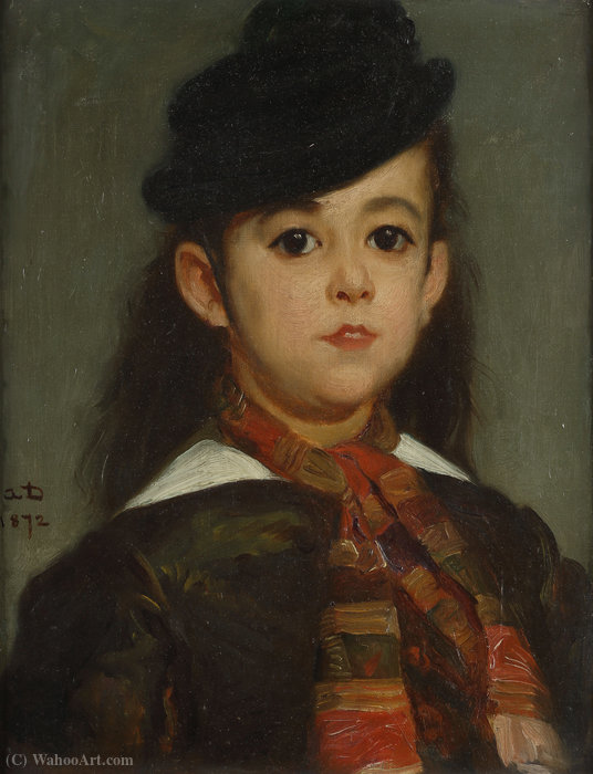 Presumed Portrait of Marie Dehodencq, the artist's daughter by Alfred Dehodencq (1822-1882, France)
