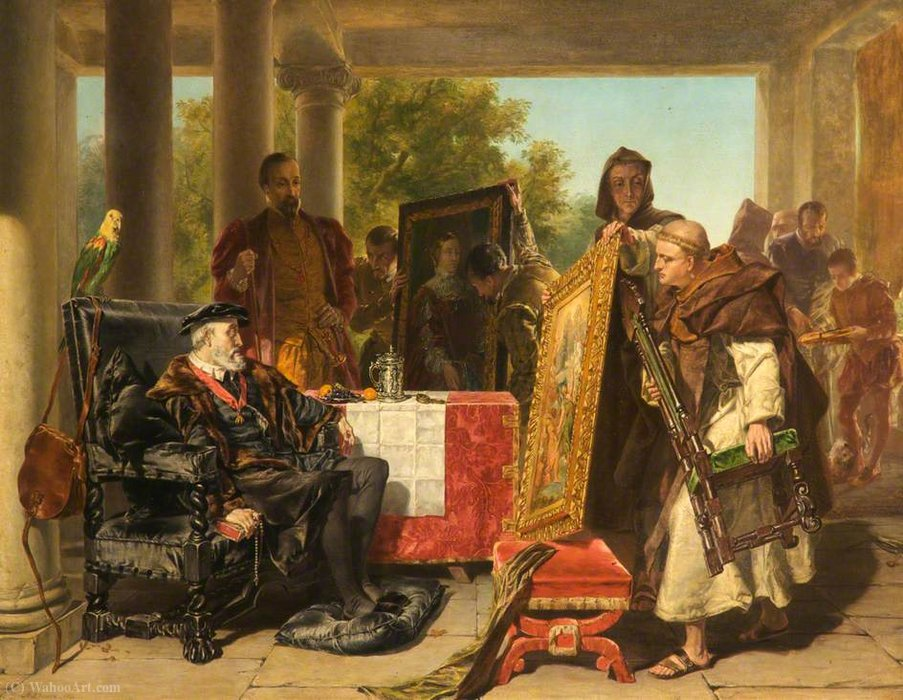Charles V at the Monastery of Yuste by Alfred Elmore (1815-1881, Ireland) | Museum Quality Copies Alfred Elmore | ArtsDot.com