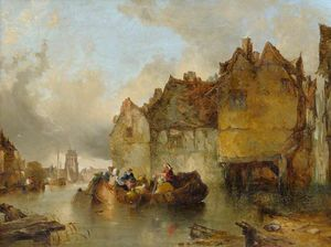 Alfred Montague - Dutch canal scene