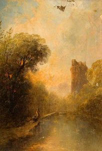 Alfred Montague - Landscape with a Ruined C..
