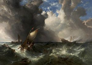 Alfred Montague - Ship on Fire off the Nort..
