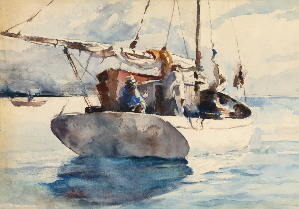 Polly (sailboat with figures) by Andrew Wyeth (1917-2009, United States) |  | ArtsDot.com