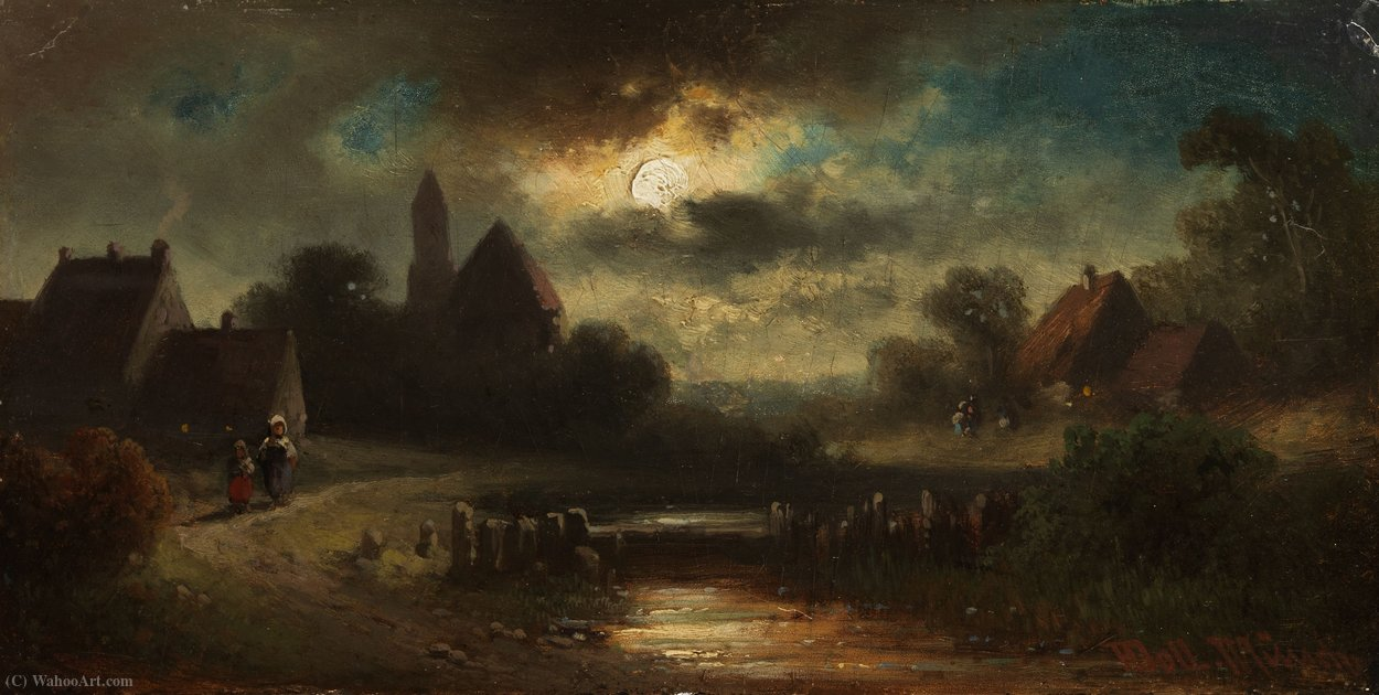 Dorfansicht at dusk by Anton Doll (1826-1887, Germany)