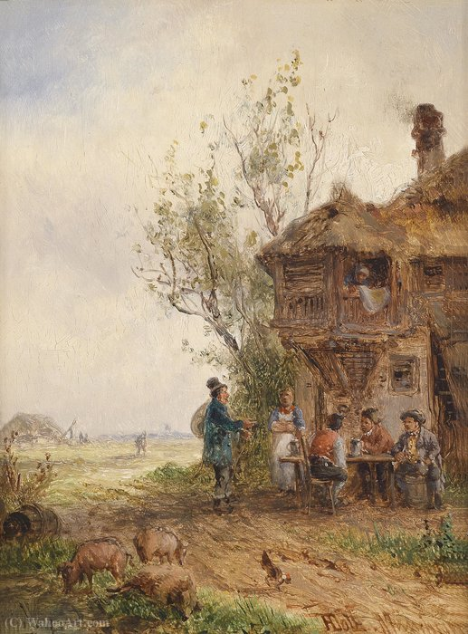 Race in front of the inn by Anton Doll (1826-1887, Germany) | Painting Copy | ArtsDot.com