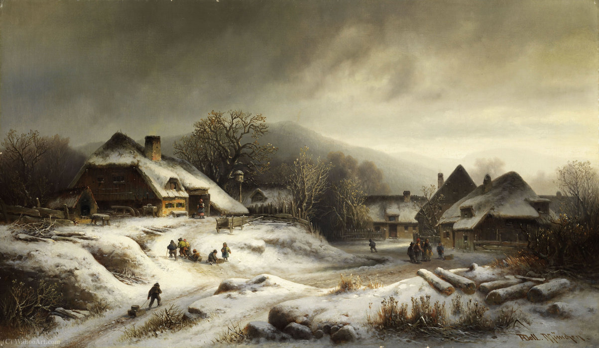Snowy village landscape by Anton Doll (1826-1887, Germany)
