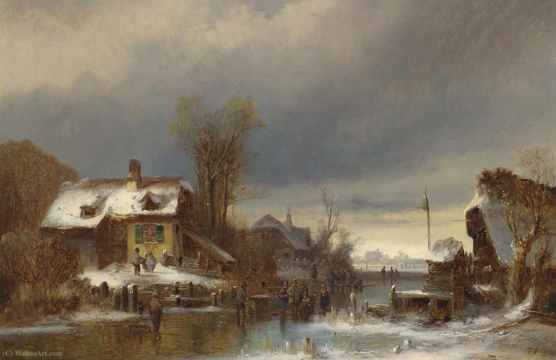 Winter pleasures by Anton Doll (1826-1887, Germany)