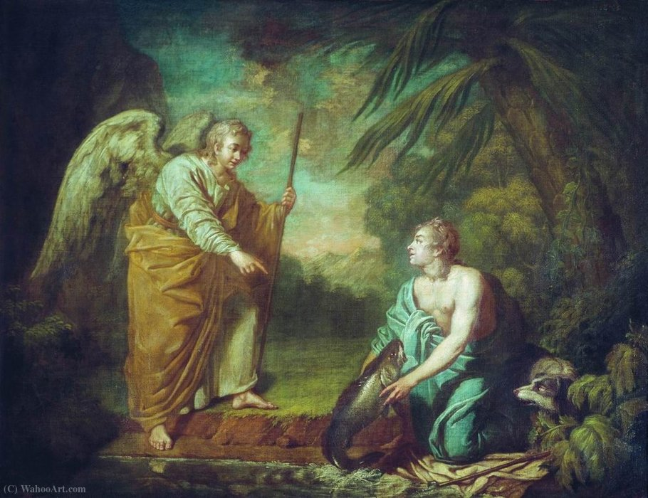 Tobias with the angel by Anton Pavlovich Losenko (1737-1773, Russia) | Museum Quality Reproductions | ArtsDot.com