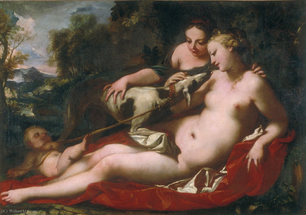 Love jealous of Fidelity by Antonio Bellucci (1654-1726, Italy)