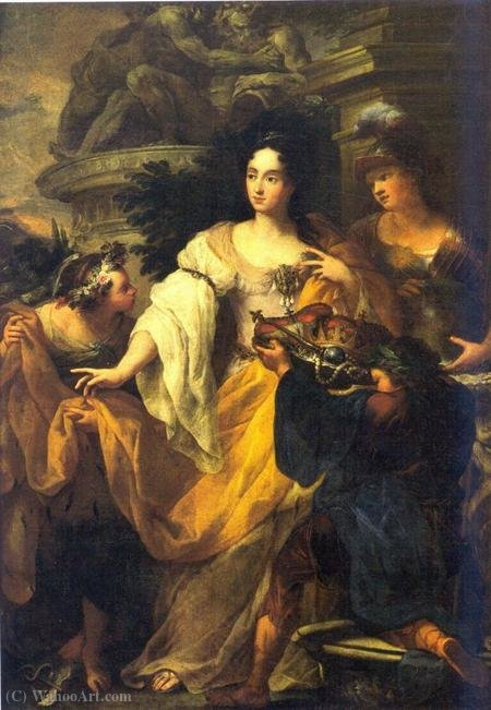 Minerva, Mercury and Plutus pay homage to the Princess Anna Maria Luisa de 'Medici by Antonio Bellucci (1654-1726, Italy)