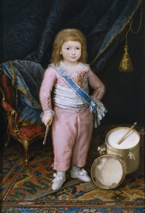 An infant with drum and tambourine by Antonio Carnicero Y Mancio (1748-1814, Spain) | Painting Copy | ArtsDot.com