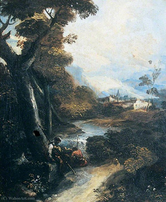 Landscape with Brigands Resting by Antonio Maria Marini (1668-1725, Italy)