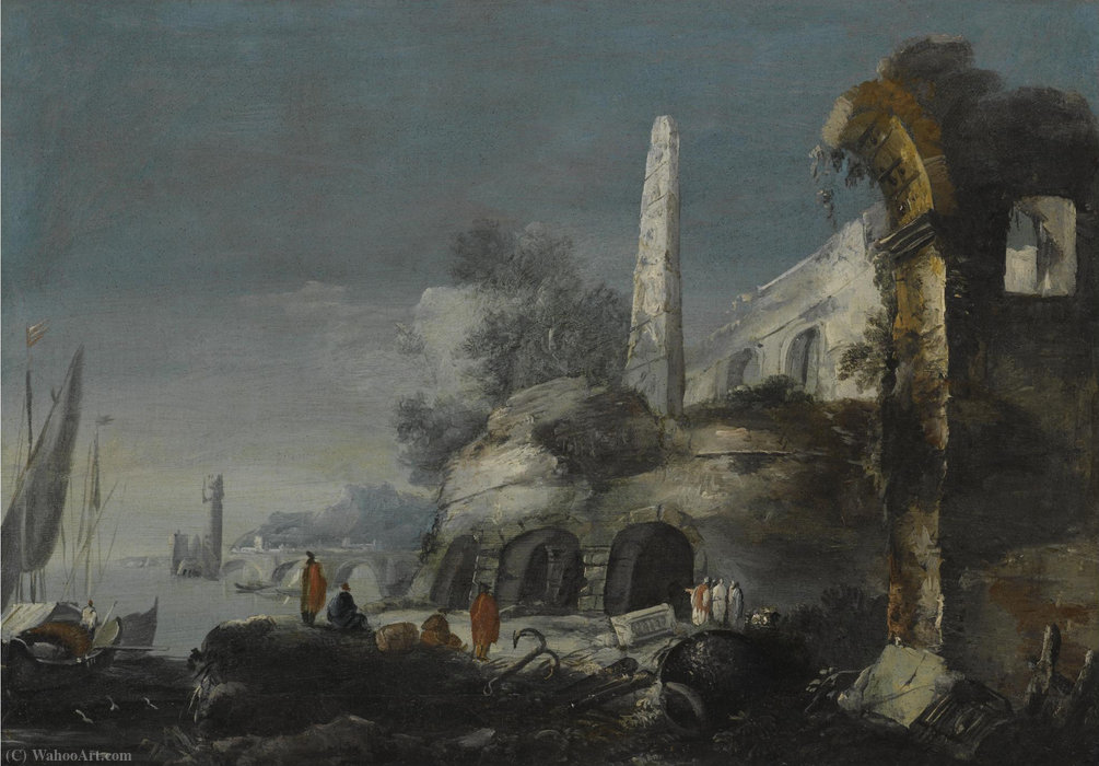A capriccio coastal scene with figures by ruins in the foreground by Antonio Stom (1688-1734, Italy)