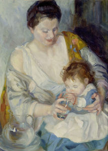 Armando Spadini - Portrait of mother with c..