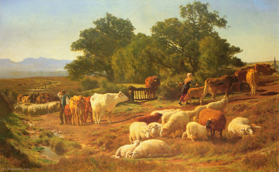 The way to market by Auguste Bonheur (1824-1884, France)