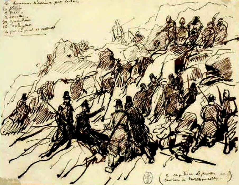 Algeria and Compiègne camp (120) Captain Espinasse in action 15 March has M'chounech (1844) by Auguste Raffet (Denis Auguste Marie Raffet) (1804-1860, France)