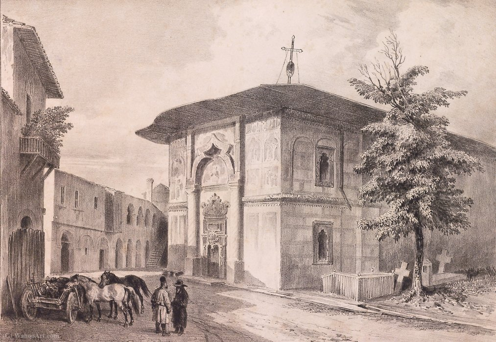 Biserica grecilor (Greek church), Bucharest by Auguste Raffet (Denis Auguste Marie Raffet) (1804-1860, France)