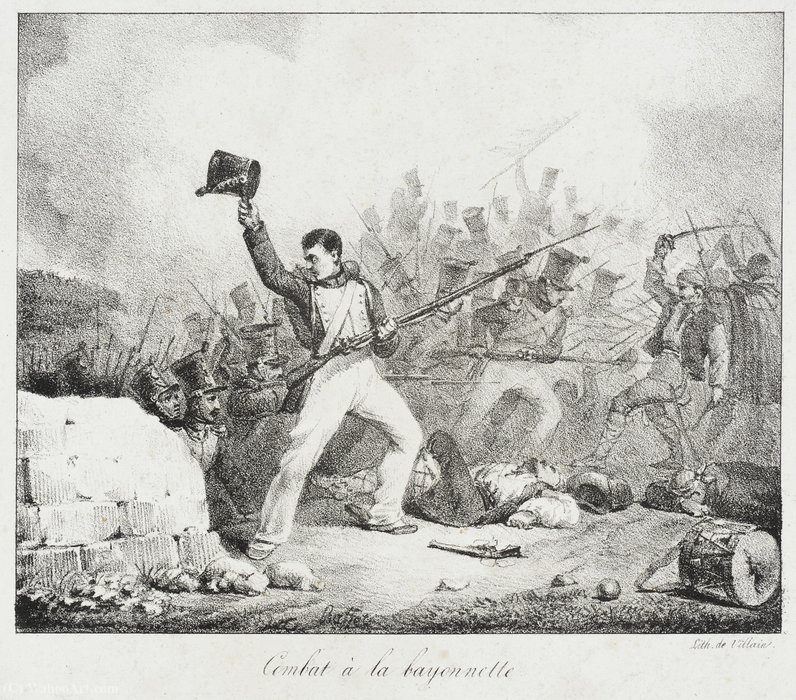 Fight to Baionette by Auguste Raffet (Denis Auguste Marie Raffet) (1804-1860, France)