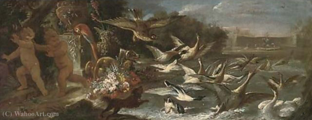 An eagle attacking ducks in a pond with putti escaping in an Italianate garden by Baldassare De Caro (1689-1750, Italy)