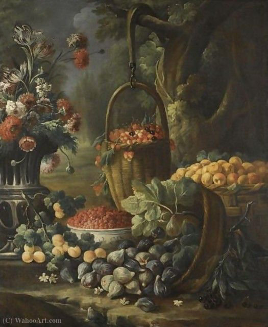 An upturned basket of figs, together with apricots, other fruit and flowers in a landscape setting by Baldassare De Caro (1689-1750, Italy)
