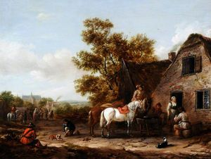 Barend Gael Or Gaal - Figures and Horses by a Tavern