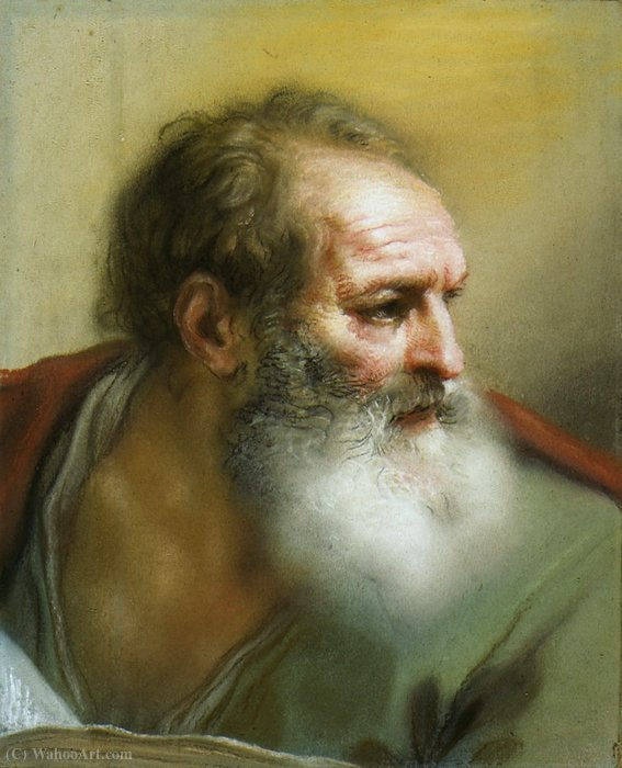 The Head of an Apostle by Benedetto Luti (1666-1724, Italy) | Museum Art Reproductions | ArtsDot.com