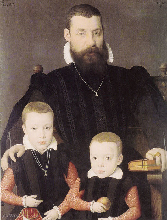 Adriaan van Santvoort and his Sons Guillaume and Adriaan by Bernaert De Ryckere (1535-1590, Belgium)