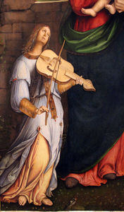 Bernardino Di Bosio Zaganelli - Virgin and Child with angel musicians(detail)
