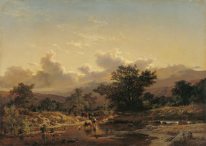 Carlos De Haes - Landscape with Drove of C..