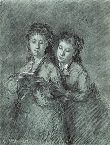 Double portrait of two sisters at the common reading by Celestin Francois Nanteuil (1813-1873, Italy)