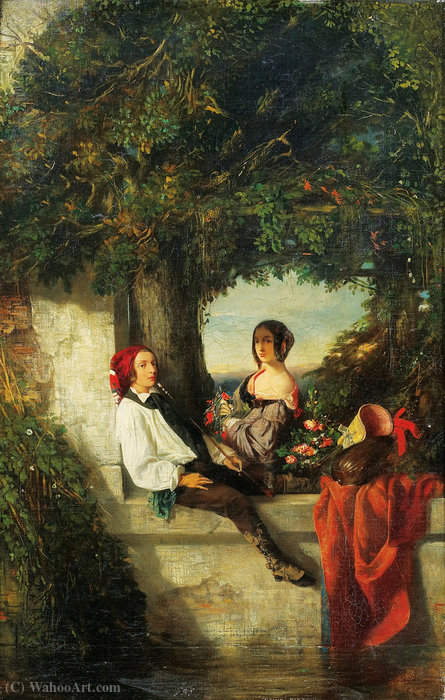 Young couple under a tree by Celestin Francois Nanteuil (1813-1873, Italy)