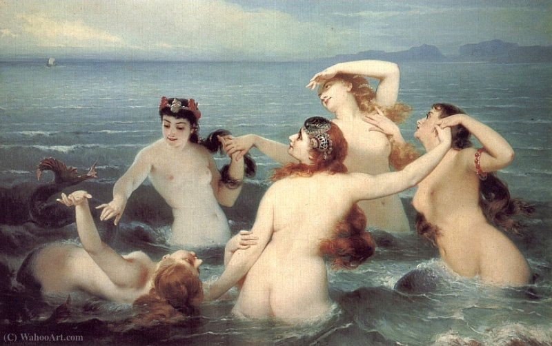 Mermaids Frolicking in the Sea by Charles Edouard Boutibonne (1816-1897, Hungary)