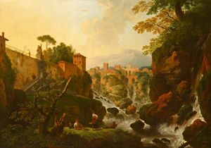 Christian Wilhelm Ernst D.. - A Rocky Waterfall with Ci..