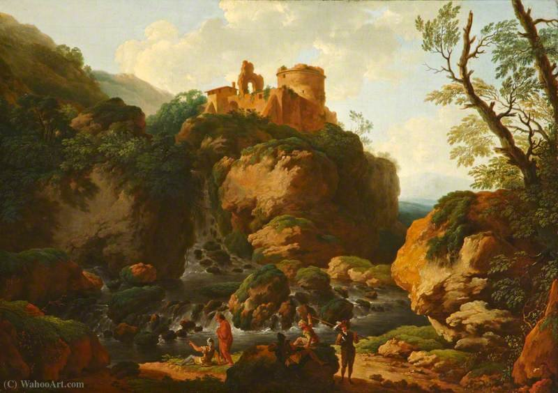 Rocky River with a Ruined Castle by Christian Wilhelm Ernst Dietrich Dietrich (1712-1774) | Painting Copy | ArtsDot.com