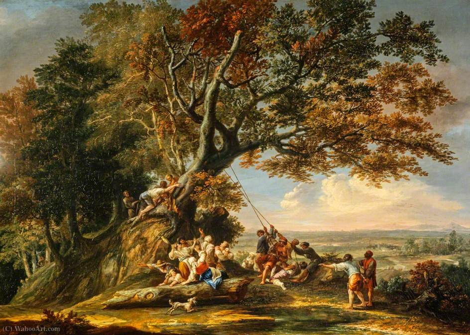 Saint Boniface Felling the Sacred Oak by Christian Wilhelm Ernst Dietrich Dietrich (1712-1774) | Oil Painting | ArtsDot.com