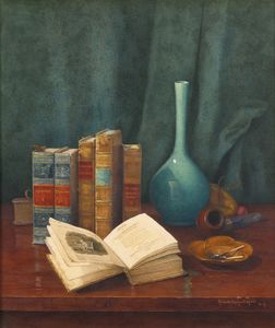 Claude Raguet Hirst - Still life with poems by cowper