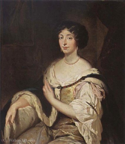 Portrait of Marie Mancini, niece of Mazarin and first love of Louis XIV of France by Constantin Netscher (1668-1723, Netherlands)