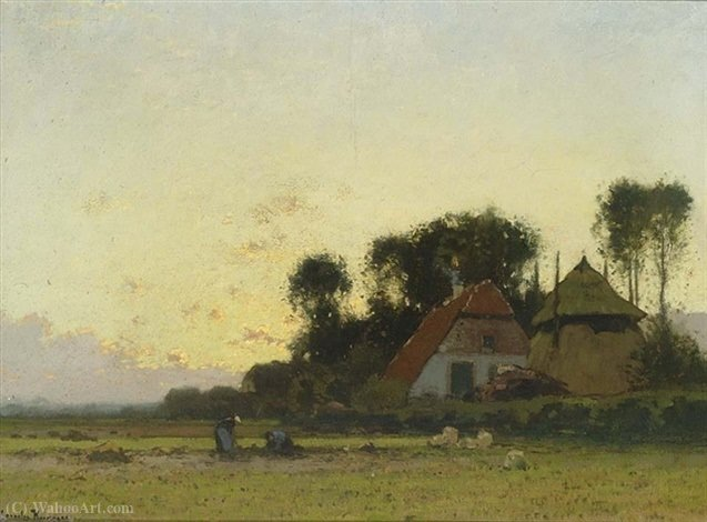 Farmers on the field by Cornelis Kuypers (1864-1932, Netherlands)