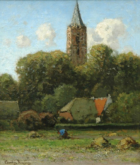 View of the church in Soest by Cornelis Kuypers (1864-1932, Netherlands)