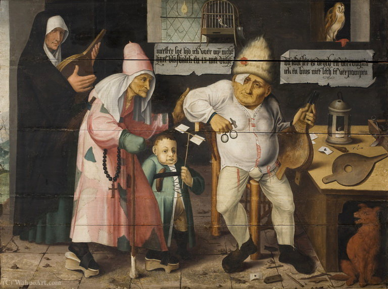 The bellows repairer. by Cornelis Massys (1510-1556, Belgium)