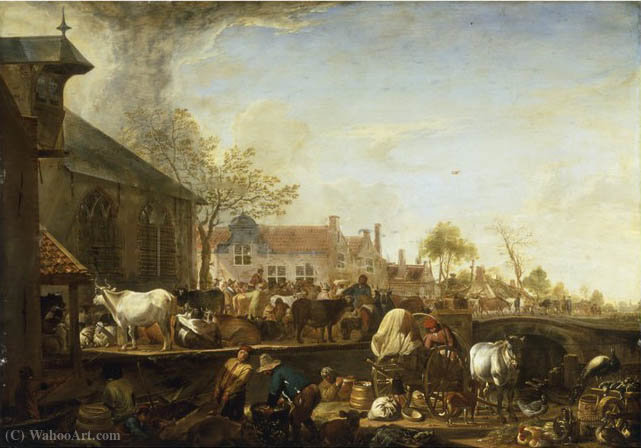 A Cattle Market by a Canal on the Edge of a Dutch Town by Cornelis Saftleven (Cornelis Zachtleven) (1607-1681, Netherlands) | Painting Copy | ArtsDot.com