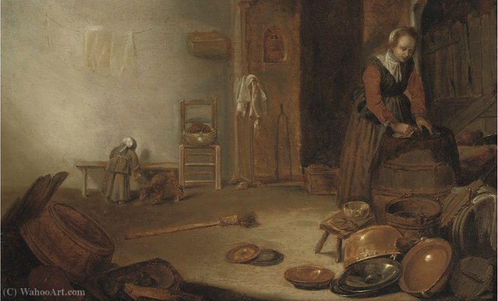 A kitchen interior with a maid cleaning by Cornelis Saftleven (Cornelis Zachtleven) (1607-1681, Netherlands)