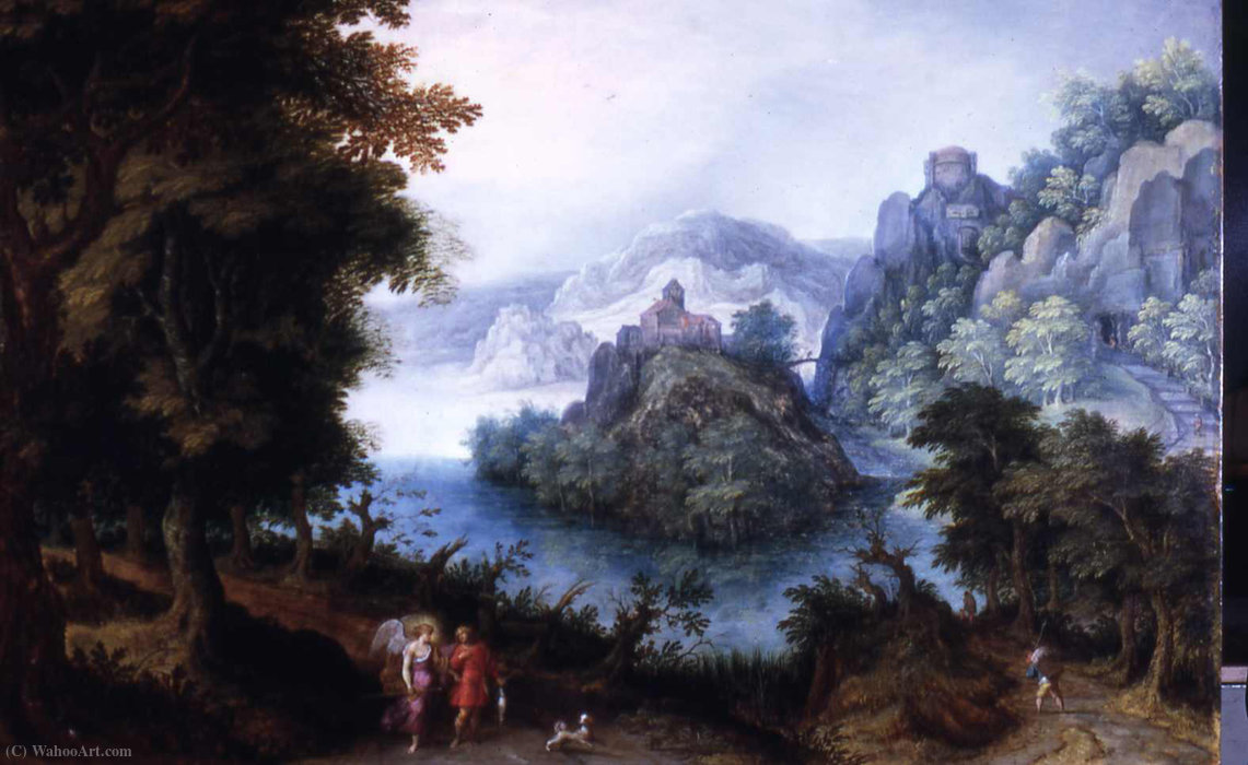 Landscape with Tobias and the Angel by Denis Van Alsloot (1570-1626, Belgium)