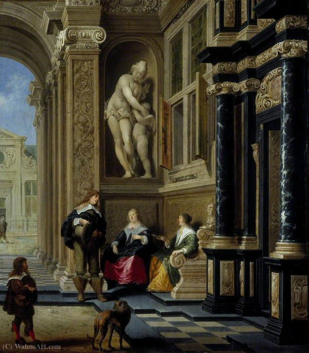A Conversation in a Palace Courtyard by Dirck Van Delen (1605-1671, Netherlands)
