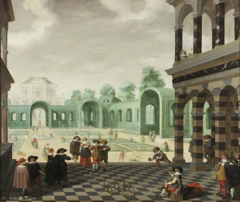 Buy Museum Art Reproductions : A dutch garden scene by Dirck Van Delen (1636-1671, Netherlands) | ArtsDot.com