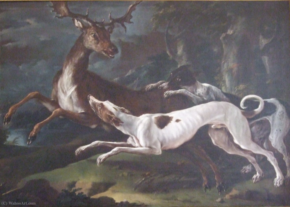 Hunting scene by Domenico Brandi (1683-1736, Italy)