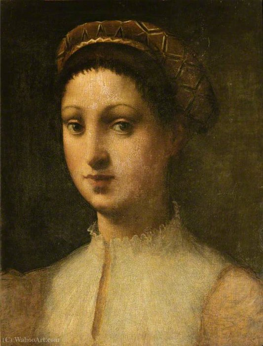 Young woman la fornarina by Domenico Puligo (1492-1527, Italy)