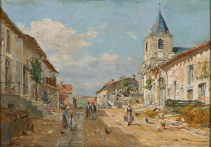 Edmond Marie Petitjean - Street of a Village
